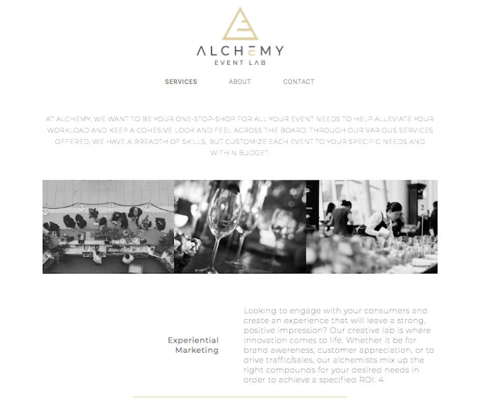alchemy event lab website design