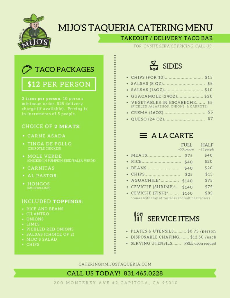 mijos taqueria restaurant catering menu